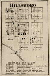 Hillsboro Village, Cain, Indiana 1865 Old Town Map Custom Print - Fountain Co.