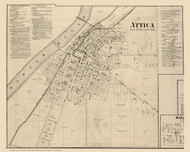 Attica Village, Logan, Indiana 1865 Old Town Map Custom Print - Fountain Co.