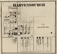 Harveysburgh Village, Mill Creek, Indiana 1865 Old Town Map Custom Print - Fountain Co.