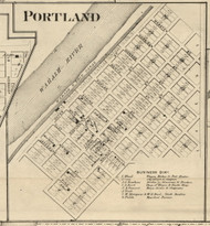 Portland Village, Shawnee, Indiana 1865 Old Town Map Custom Print - Fountain Co.