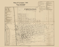 Covington Village, Troy, Indiana 1865 Old Town Map Custom Print - Fountain Co.