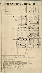Chambersburgh Village, Van Buren, Indiana 1865 Old Town Map Custom Print - Fountain Co.