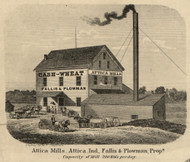 Attica Mills, Attica, Logan, Indiana 1865 Old Town Map Custom Print - Fountain Co.