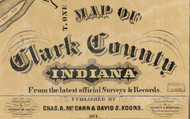 Map Cartouche, Clark Co. Indiana 1875 Old Town Map Custom Print - Clark Co.