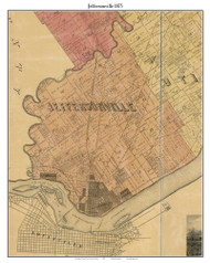 Jeffersonville, Indiana 1875 Old Town Map Custom Print - Clark Co.