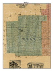 Wood, Indiana 1875 Old Town Map Custom Print - Clark Co.