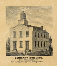 Seminary Building, New Washington, Indiana 1875 Old Town Map Custom Print - Clark Co.