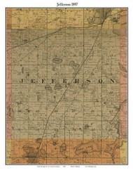 Jefferson, Michigan 1897 Old Town Map Custom Print - Cass Co.