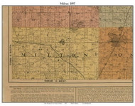 Milton, Michigan 1897 Old Town Map Custom Print - Cass Co.
