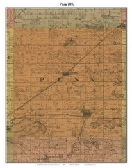 Penn, Michigan 1897 Old Town Map Custom Print - Cass Co.