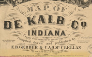 Map Cartouche, Indiana 1863 Old Town Map Custom Print - DeKalb Co. Buy the complete map under Indiana County Maps