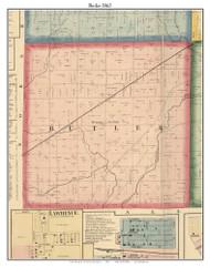 Butler, DeKalb Co. Indiana 1863 Old Town Map Custom Print - DeKalb Co.