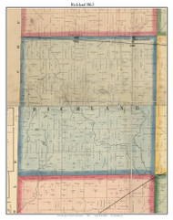 Richland, DeKalb Co. Indiana 1863 Old Town Map Custom Print - DeKalb Co.