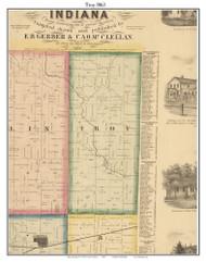 Troy, DeKalb Co. Indiana 1863 Old Town Map Custom Print - DeKalb Co.