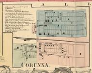 Corunna Village, Fairfield, DeKalb Co. Indiana 1863 Old Town Map Custom Print - DeKalb Co.