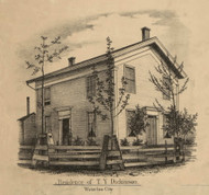 Dickinson Residence, Waterloo City, Union, DeKalb Co. Indiana 1863 Old Town Map Custom Print - DeKalb Co.