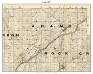 Adams, Indiana 1897 Old Town Map Custom Print - Carroll Co.