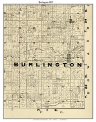 Burlington, Indiana 1897 Old Town Map Custom Print - Carroll Co.