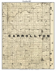 Carrollton, Indiana 1897 Old Town Map Custom Print - Carroll Co.