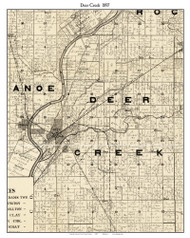 Deer Creek, Indiana 1897 Old Town Map Custom Print - Carroll Co.