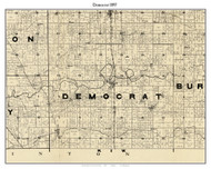 Democrat, Indiana 1897 Old Town Map Custom Print - Carroll Co.