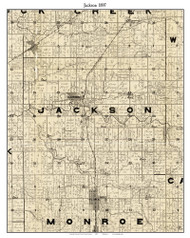 Jackson, Indiana 1897 Old Town Map Custom Print - Carroll Co.