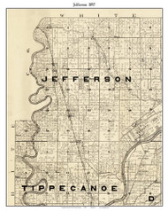 Jefferson, Indiana 1897 Old Town Map Custom Print - Carroll Co.
