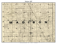 Madison, Indiana 1897 Old Town Map Custom Print - Carroll Co.