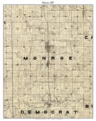 Monroe, Indiana 1897 Old Town Map Custom Print - Carroll Co.