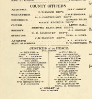 County Officers and Justices of the Peace 1897, Carroll County, Indiana 1897 Old Town Map Custom Print - Carroll Co.
