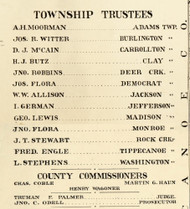Township Trustees and County Commissioners 1897, Carroll County, Indiana 1897 Old Town Map Custom Print - Carroll Co.