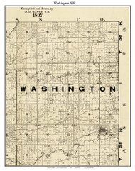 Washington, Indiana 1897 Old Town Map Custom Print - Carroll Co.