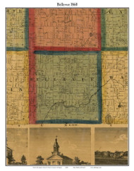 Bellevue, Michigan 1860 Old Town Map Custom Print - Eaton Co.