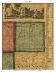 Delta, Michigan 1860 Old Town Map Custom Print - Eaton Co.