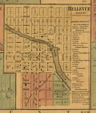 Bellevue Village, Michigan 1860 Old Town Map Custom Print - Eaton Co.
