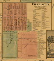 Charlotte, Michigan 1860 Old Town Map Custom Print - Eaton Co.