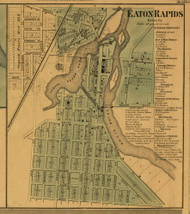 Eaton Rapids Village, Michigan 1860 Old Town Map Custom Print - Eaton Co.