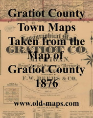 Map Cartouche, Gratiot Co. Michigan 1876 Old Town Map Custom Print - Gratiot Co.