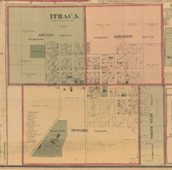 Ithaca, Michigan 1876 Old Town Map Custom Print - Gratiot Co.