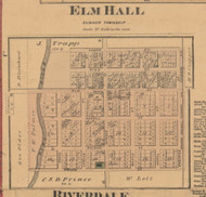 Elm Hall, Michigan 1876 Old Town Map Custom Print - Gratiot Co.