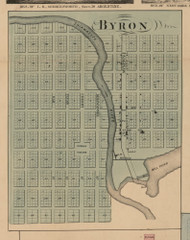 Byron, Michigan 1859 Old Town Map Custom Print - Shiawassee Co.