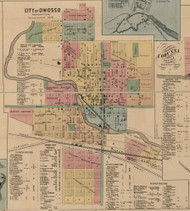 Owosso City, Michigan 1859 Old Town Map Custom Print - Shiawassee Co.