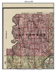 Jefferson, Indiana 1898 Old Town Map Custom Print - Carroll Co.