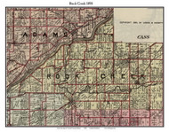 Rock Creet, Indiana 1898 Old Town Map Custom Print - Carroll Co.