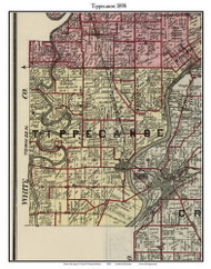 Tippecanoe, Indiana 1898 Old Town Map Custom Print - Carroll Co.
