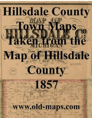 Map Cartouche, Hillsdale Co. Michigan 1857 Old Town Map Custom Print - Hillsdale Co.