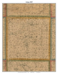 Adams, Michigan 1857 Old Town Map Custom Print - Hillsdale Co.