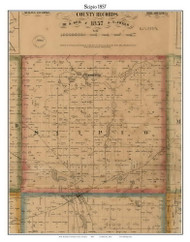 Scipio, Michigan 1857 Old Town Map Custom Print - Hillsdale Co.