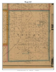 Wright, Michigan 1857 Old Town Map Custom Print - Hillsdale Co.