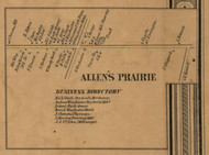 Allen's Prairie, Michigan 1857 Old Town Map Custom Print - Hillsdale Co.